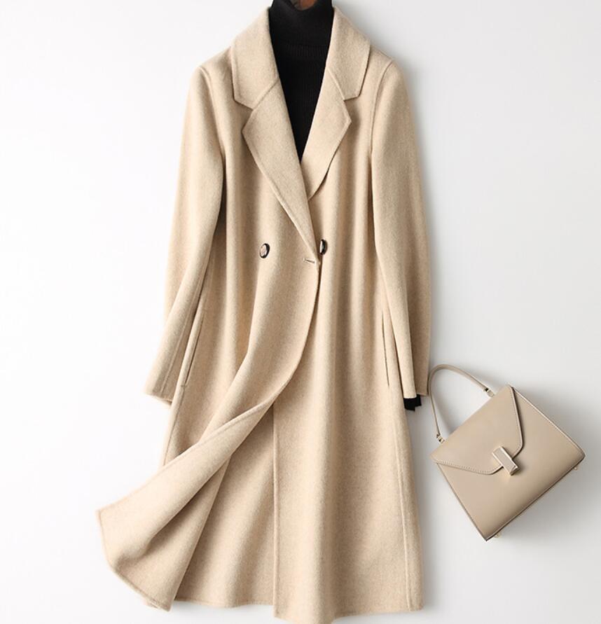 Taille 2019 2xl Couleur Pure Double gray Cardigan Nouvelle Veste Cachemire  green Gray face Lâche Et Beige Longue Pur Manteau D hiver Femmes Laine ... f48da9c8053b