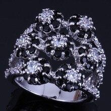 Heavenly Huge Flower Black Cubic Zirconia White CZ 925 Sterling Silver Ring For Women V0547
