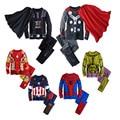 2017 весна дети пижамы одежда для мальчиков Железный человек Халк супергерой Бэтмен костюм Человек-Паук дети спят носить одежду наборы