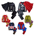 2017 spring kids pajamas clothes for boys Iron man Hulk superhero Batman costume Spiderman children sleeping wear clothing sets