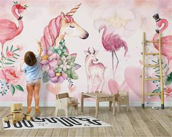 beibehang Custom size wall paper Nordic pink simple flamingo childrens room decoration background papel de parede 3d wallpaper