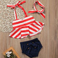 2017 New Summer Baby Kids Girl Clothes Sleevless Stripe Bikini Tankini+Buttom+Headband Beachwear Toddler 0-4Y 3pcs Set