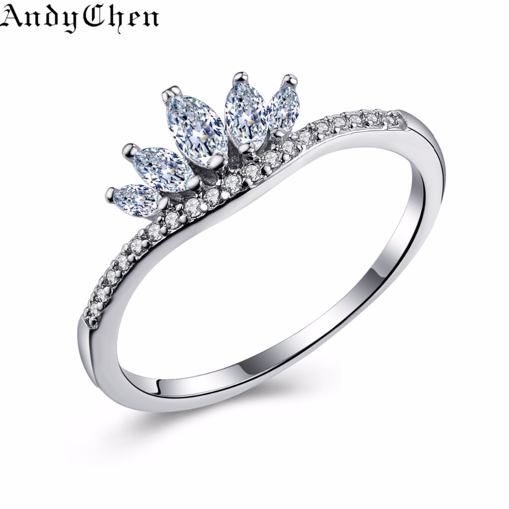 india jewelry crown wedding rings promotion crown wedding rings Drop Shipping AndyChen Luxury Crown Silver Plated Engagement Rings For Women Crystal Jewelry Wedding Bague Bijoux Femme MSR