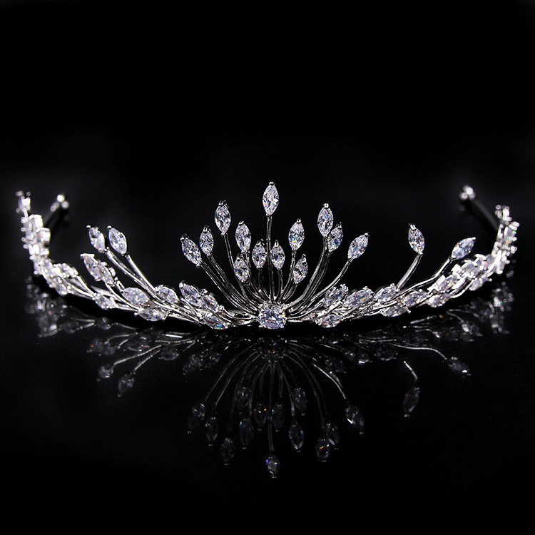 Stunning Copper Cubic Zirconia Wedding Tiara Headband CZ Bridal Queen Princess Pageant Party Crown Bridesmaids Birthday Gift