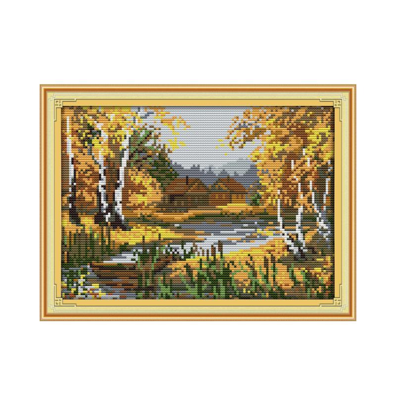 11CT 14CT Baibu birke wald creek handgemachte nähen kreuz stich suite landschaft großhandel Chinesischen eigenschaften gemälde