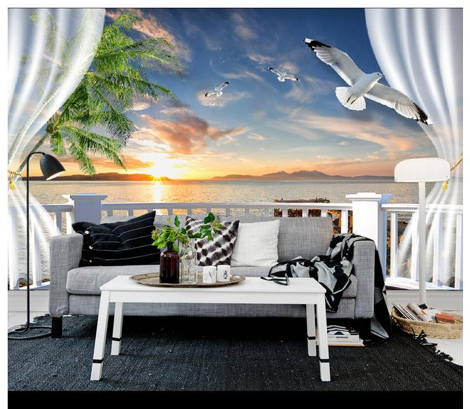 Free shopping 2015 New Non-woven 3 d balcony diffused seascape TV setting wall wallpaper