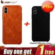 Jisoncase Cover per iPhone X Cassa Del Cuoio Genuino di Lusso Cassa Attrezzata per il iphone XS 5.8 pollici Slim Design Comprare Un ottenere Uno Libero