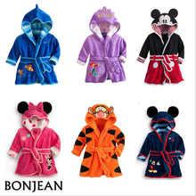 Bebê meninos robe para meninas 2019 crianças roupão minnie mickey macio veludo robe pijamas coral bebê crianças roupas quentes 2-6y