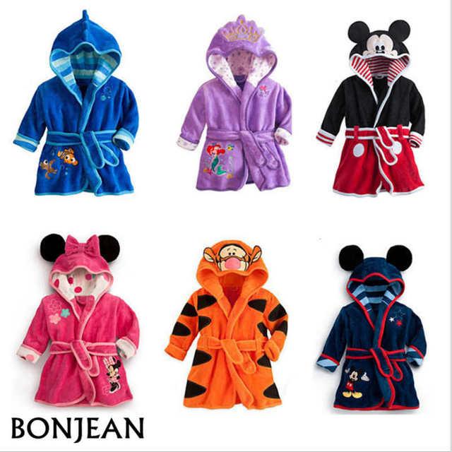 b02c0109ea Baby Boys Robe For Girls 2019 Children s bathrobe Minnie Mickey Soft Velvet  Robe Pajamas Coral Baby