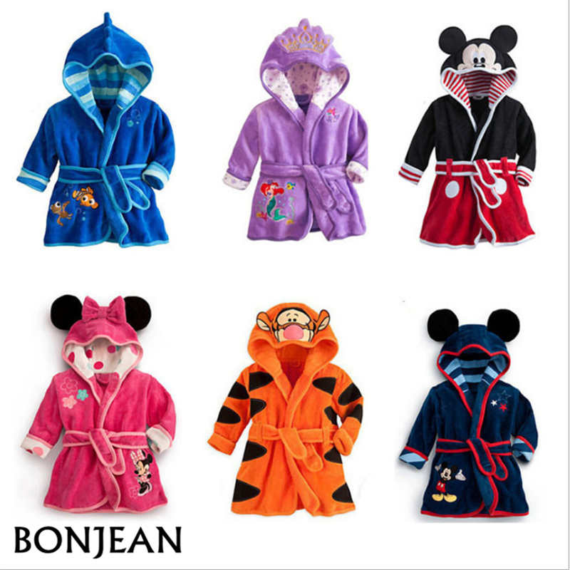 Baby <font><b>Boys</b></font> Robe For Girls 2019 Children's bathrobe Minnie Mickey Soft Velvet Robe Pajamas Coral Baby Kids Warm Clothes 2-6Y image
