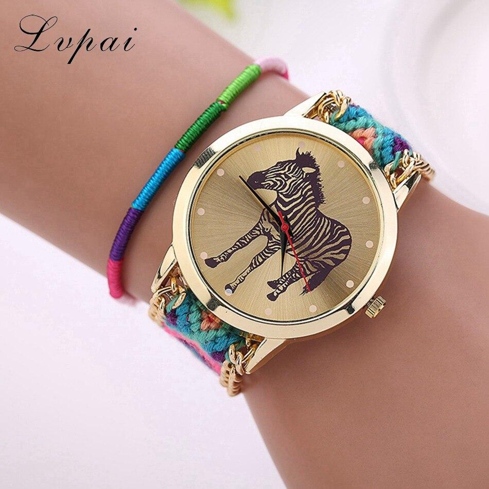 Lvpai Brand Women Fashion Luxury Watch Handmade Braided Ladies Cartoon Wristwatch Zebra Chinese Style Women Dress Watch LS034
