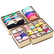 4pcs Bra Underwear Storage Socks Shorts Boxes Bra Box Necktie Socks Storage Organizer Organizador Fabric Drawer