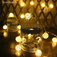 Feimefeiyou 10 Latterns LED 1M Funlife Wedding Party String Lights Hand Weaved Rattan String Ball Lantern Xmas 3cm Ball