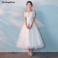 Darlingoddess 2018 Vestido De Noiva Luxury Ankle Length Appliques Lace Wedding Dresses Short Sleeve Vintage Short Wedding Gowns
