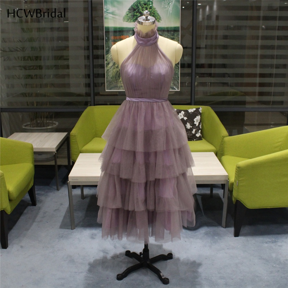 2019 New Short   Prom     Dresses   Tiered Tulle A Line Backless Sexy Wedding Party   Dress   Custom Made Cheap Women Evening Gowns
