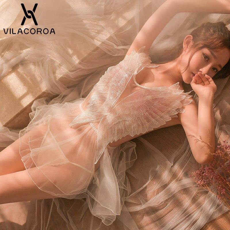 Sexy Mesh Frauen Dessous Nachtwäsche Schwarz Weiß Spitze Stickerei Flügel V-ausschnitt Ärmelloses Nachtwäsche Mini Nacht Kleid Gecelik Nighty