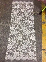 New Design Hot Selling Good Quality White Color Embroiry Flowers Lace Fabric For Wedding Or Party