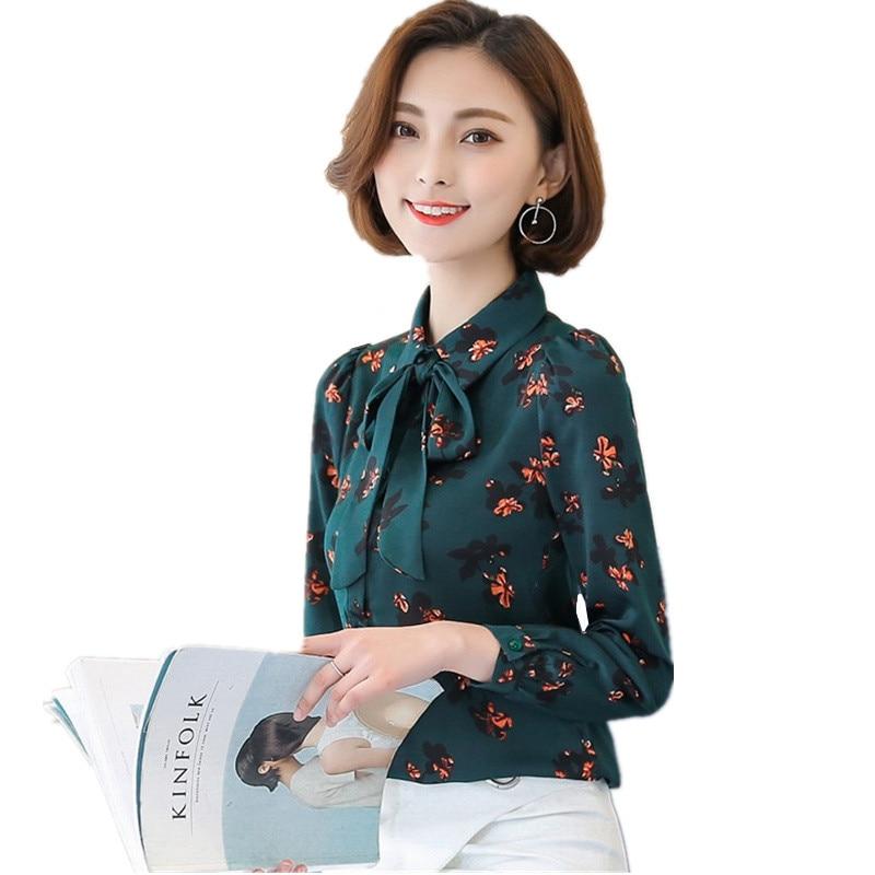 2018 nouveau printemps automne femmes Blouse chemise de grande taille lâche imprimé chemise en mousseline de soie femme Floral à manches longues hauts Blousa C568
