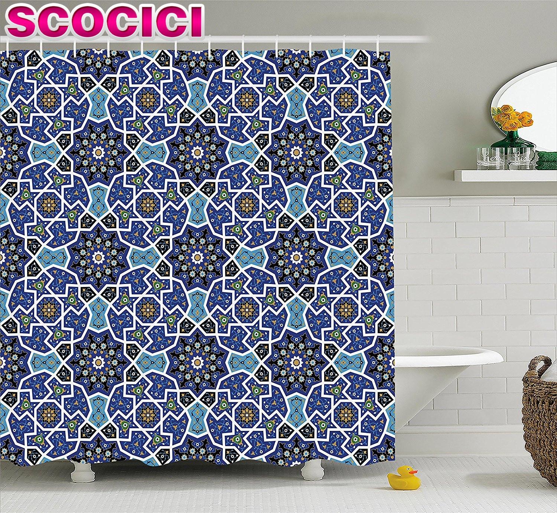 Moroccan Shower Curtain Eastern Persian Gypsy Jacquard Style Arabic Culture  Folk Tracery Geometric Image Fabric Bathroom