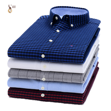 Aoliwen brand men Oxford casual palid shirt autumn long sleeve Comfortable Button-down Neck Flannel cotton high quality slim fit