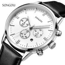 Songdu marca sport reloj de los hombres de primeras marcas de lujo de cuero masculino impermeable cronógrafo de cuarzo militar reloj de pulsera hombres reloj saat