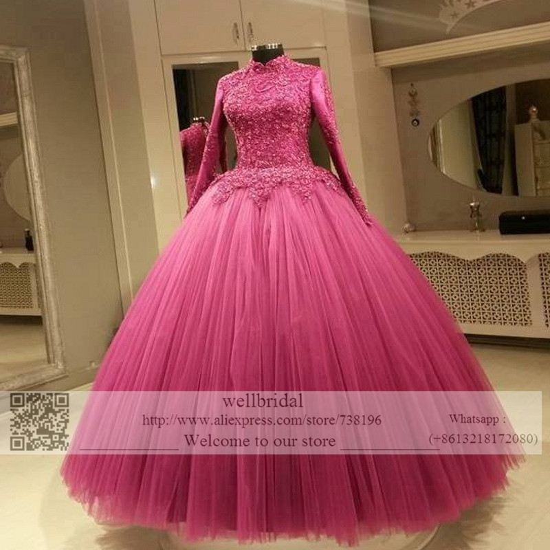 Plus Size Vintage Arabic Muslim Ball Bridal Gowns 2016 Liques Long Sleeve Tulle Hot Pink Vestido De Noiva Manga Wedding Dress In Dresses From