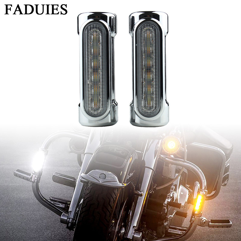 FADUIES Black/chrome Motorcycle Highway Bar Switchback Turn Signal Light White Amber LED For Crash Bars For Harley Touring Model