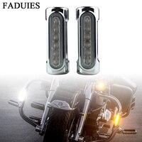 FADUIES Chrome Motocicleta Rodovia Bar Driving Luz Âmbar Branco Switchback LED para Barras de Acidente PARA Harley Touring Bicicleta Bicicletas amber led -