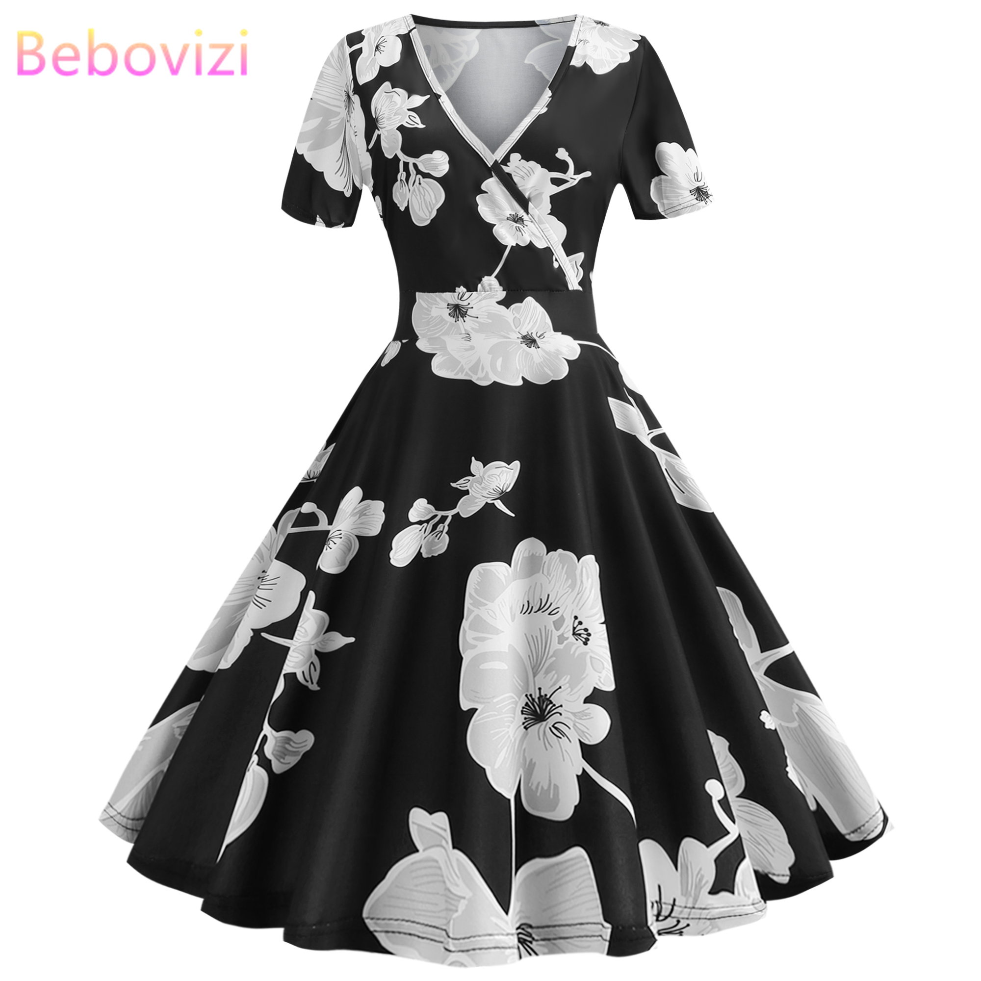 Bebovizi New Women 2019 Summer Dress Casual Elegant Office Plus Size Black Short Dresses Sexy Vintage Print Shein Party Vestidos