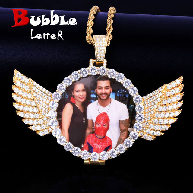 Angel Wing Custom Photo Pendant Medallion Real Gold Plated Hip Hop Jewelry