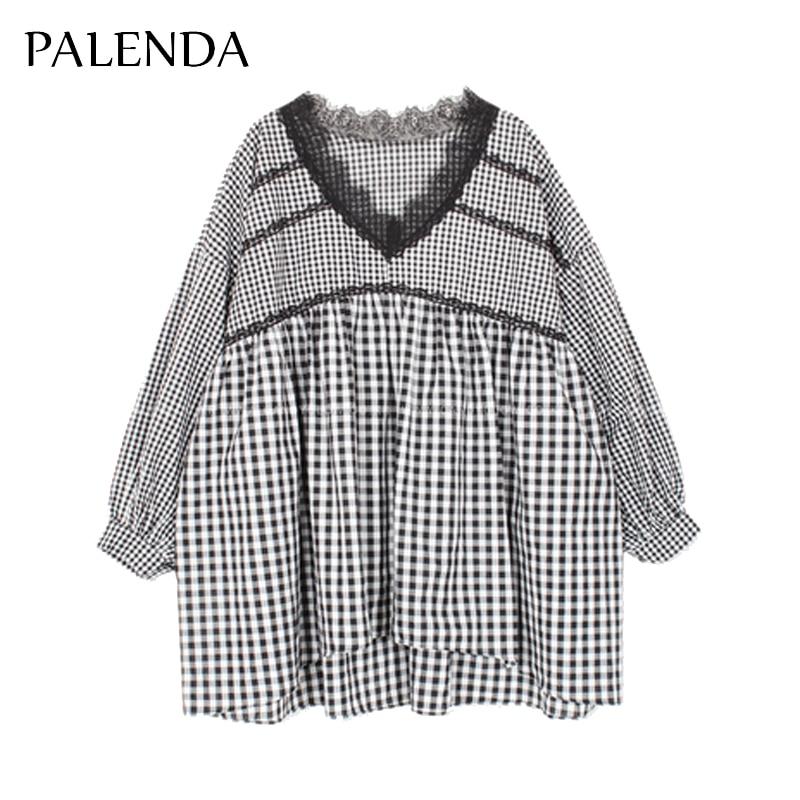top bluze i majice čipkast v-vrat rukav puhasti A-line slatka - Ženska odjeća - Foto 3