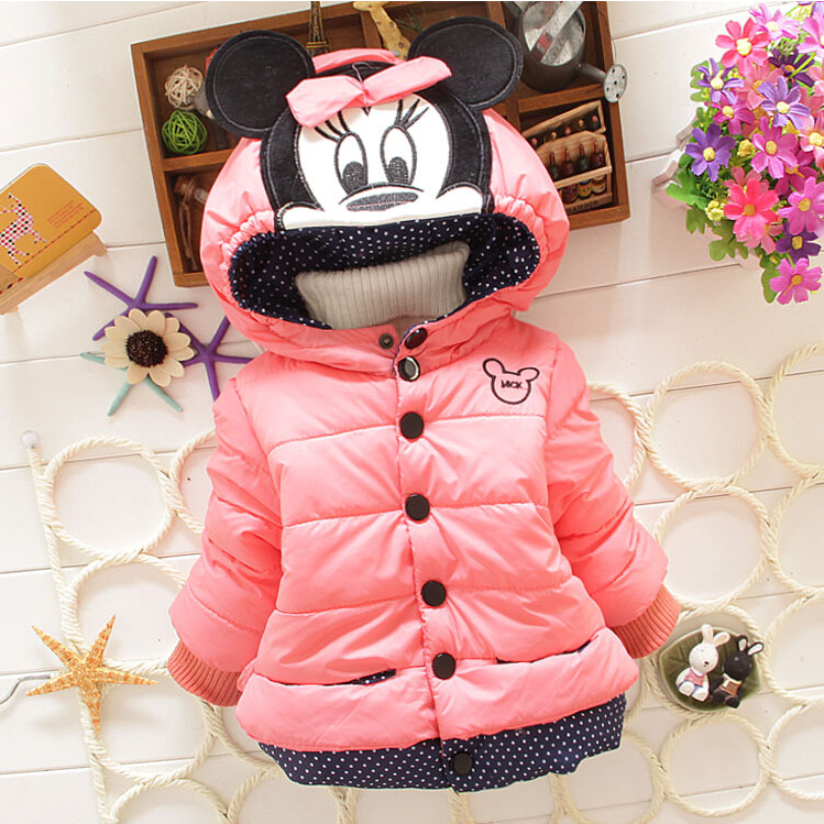 New Minnie Girls Jacket Winter Cartoon Lovely Keeping Warm Kids ...