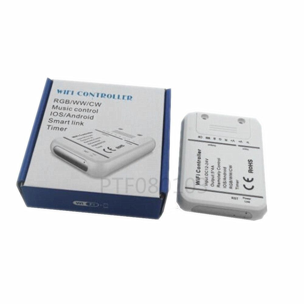 DC12-24V 4A * 5CH/RGB/WW/CW LED controlador WIFI Android IOS enlace inteligente temporizador de control de música, rgb controlador