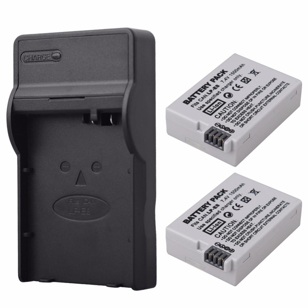2x 1500mAh LP E8 LPE8 LP E8 Digital Camera Replacement Battery Pack for Canon EOS 600D
