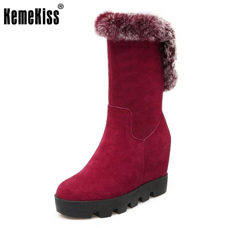 KemeKiss Women Genuine Leather Wedges Boots Warm Fur Snow Boots Inside Heel Winter Shoes Zipper Botas Women Footwears Size 34-39 hot sale winter warm fur inside men boots comfortable zipper designer man casual shoes genuine leather boots luxury brand shoes