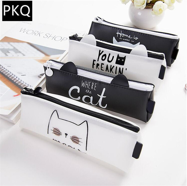 1 pcs estilo Coreano Kawaii Gato Bonito Saco do Lápis Caneta Escola Estacionária Receber Ferramentas Bolsa de Maquiagem Cosméticos Caso de Silício