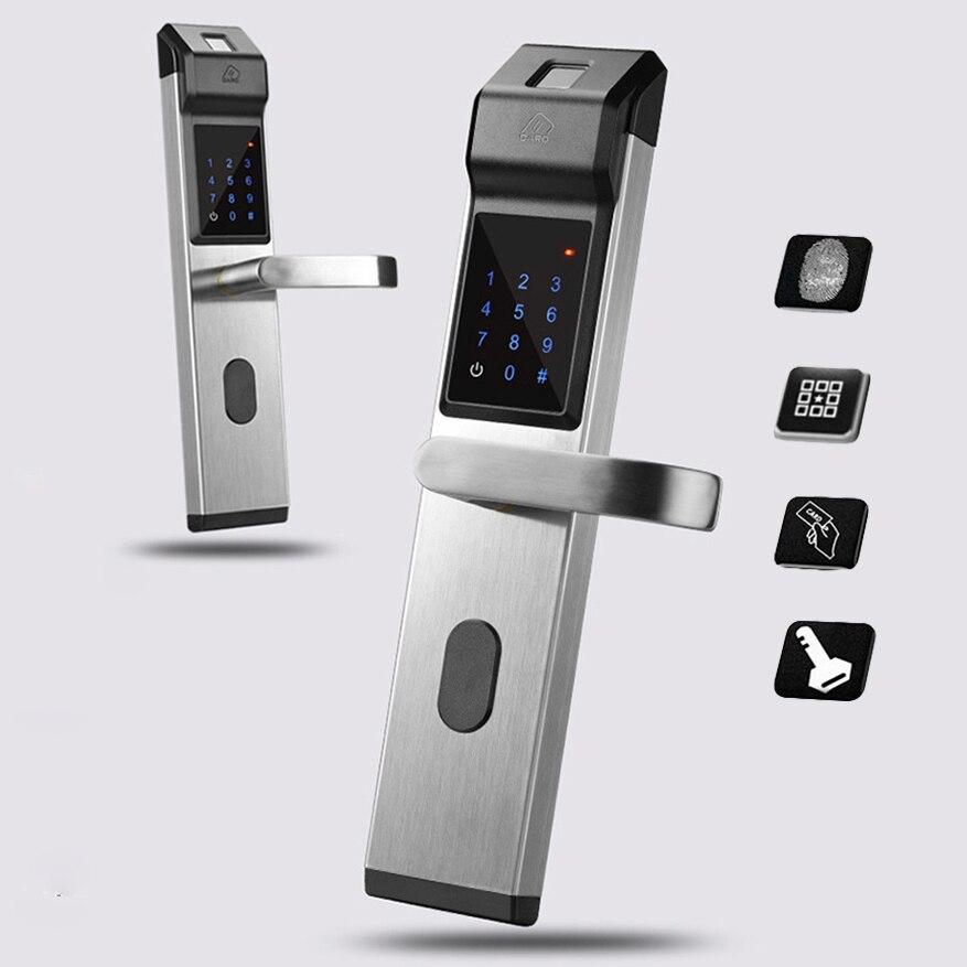 Умный дверной замок отпечаток пальца/цифровой пароль/ключ/IC карта 4 в 1 Электронный умный дверной замок для дома Офис Квартира