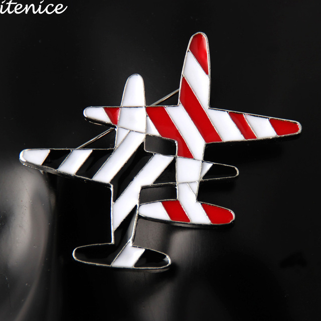 Itenice New Fashion Jewelry Apparel Accessories Office Career Enamel Style Brooches Airplane Alloy Oil Drop Breastpin For Women