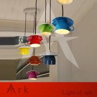 1PCS Small Simple Modern Teapot Tea Cup Pendant Lights Restaurant Passage Bedroom Kitchen Light Ceramic Lamp
