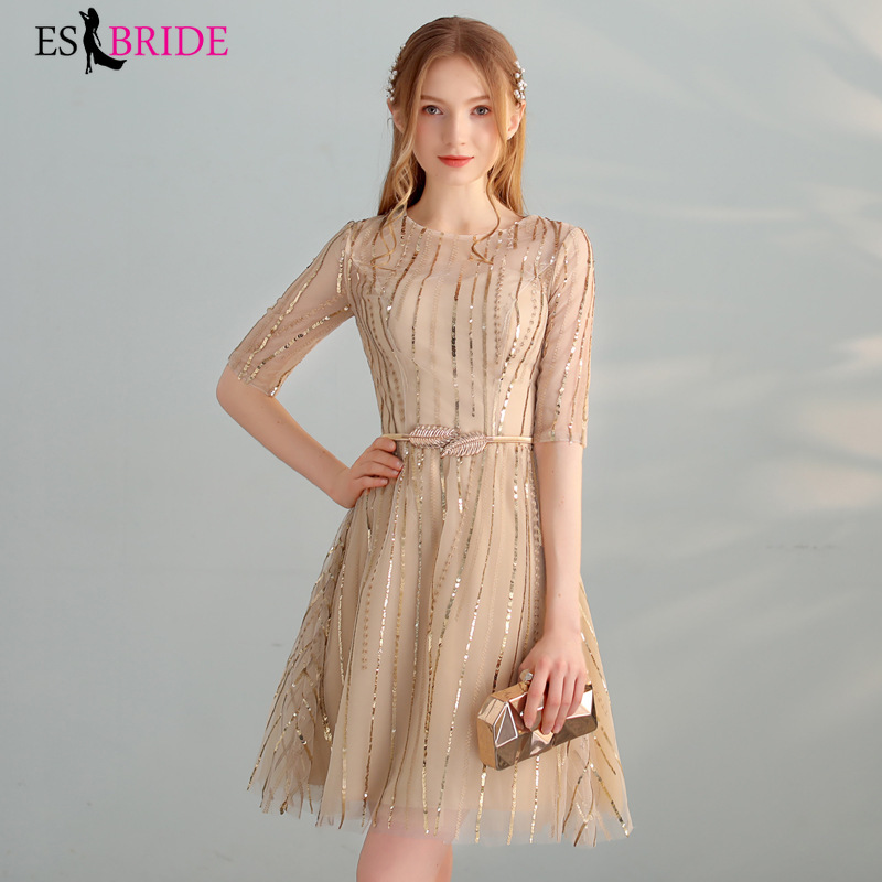 Champagne A-line Women's Elegant Evening Dresses 2019 New Round Neck Lace Short Sleeve Long Formal Evening Party Dreseses ES1370