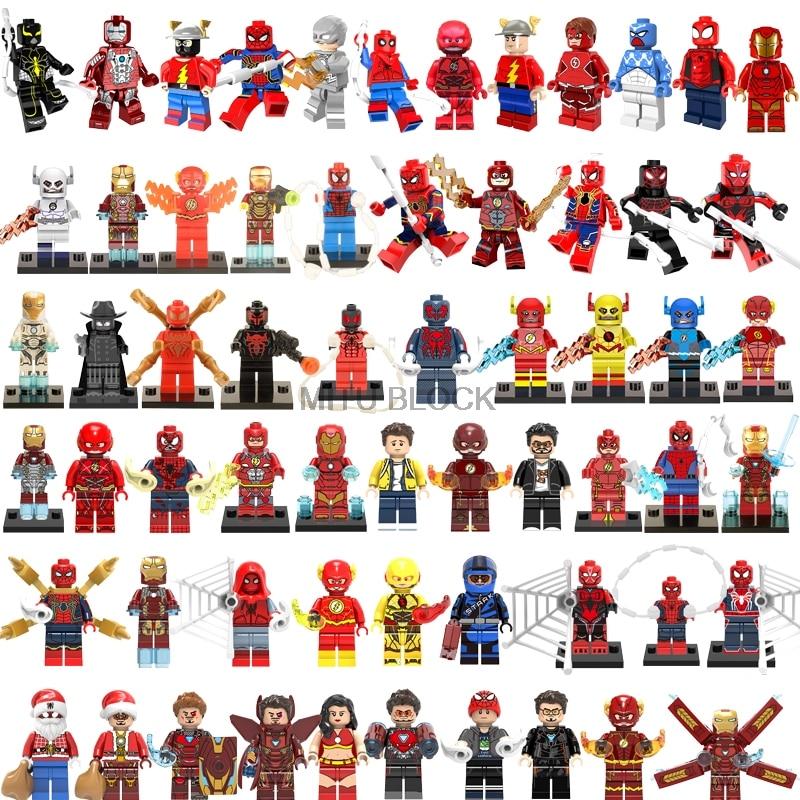 Super Heroes Marvel Figures The Flash Spiderman  Ant-Man Batman Iron Man Building Blocks Mini Bricks Figure