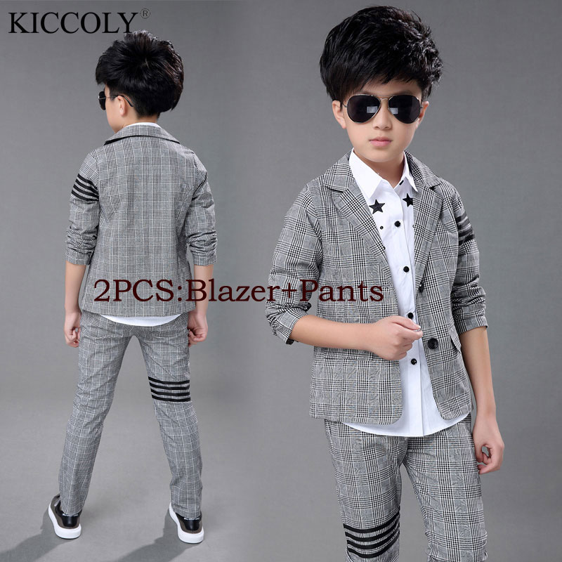2017 New Fashion Baby Kids Boys Children Blazers Suits Boys Suits For Weddings Grey Lattice Wedding Suit Jacket Pants 2pcs/set 2015 new arrive super league christmas outfit pajamas for boys kids children suit st 004