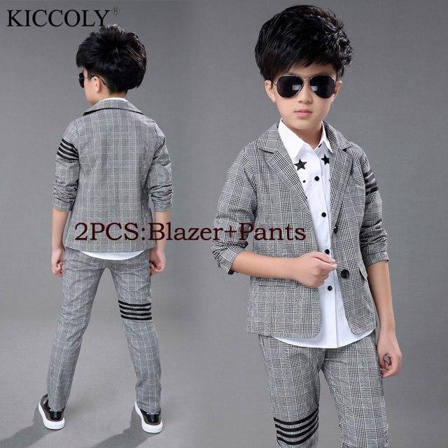 5f7658744 2017 New Fashion Baby Kids Boys Children Blazers Suits Boys Suits For Weddings  Grey Lattice Wedding Suit Jacket Pants 2pcs/set