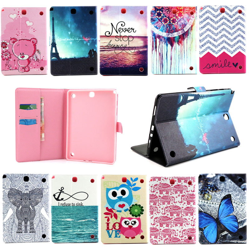 For Galaxy Tab A 9.7 Protective leather cover case for samsung GALAXY Tab A 9.7 T555 T550 9.7 tablet cases Flower Series s4D69d luxury flip stand case for samsung galaxy tab 3 10 1 p5200 p5210 p5220 tablet 10 1 inch pu leather protective cover for tab3