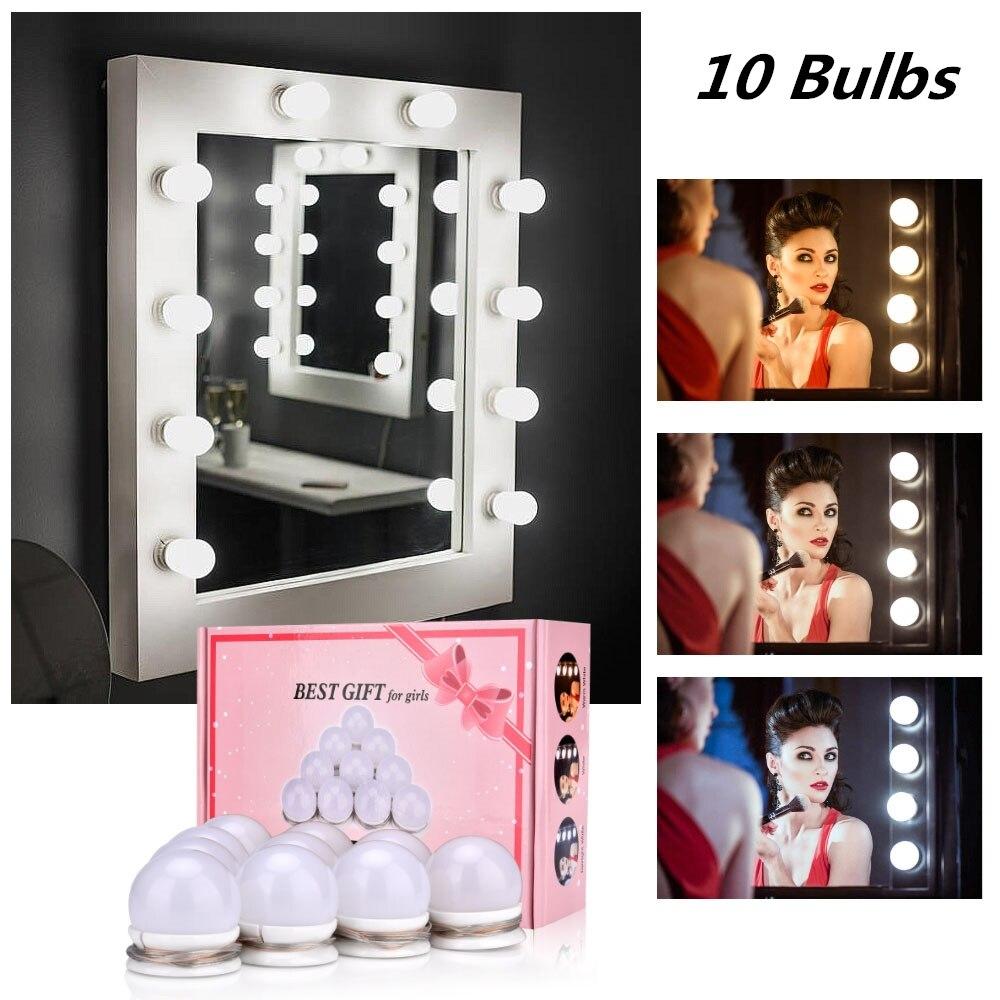 Espelho de maquiagem Espelho de Vaidade LEVOU Lâmpada Dimmable de Hollywood Luz Maquiagem Vaidade Conjunto De Mesa para o Quarto de Vestir Sem Espelho