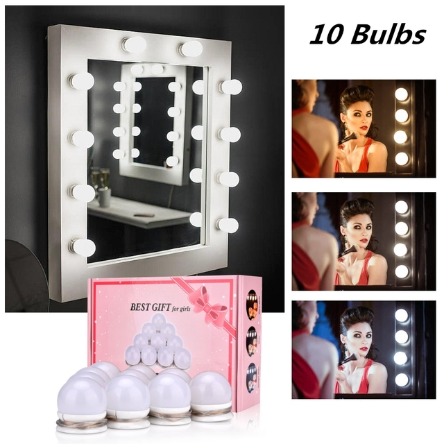 Makeup Mirror Vanity LED Light Bulb Hollywood Dimmable Mirror Light Makeup Vanity Table Set for Dressing Room Without Mirror