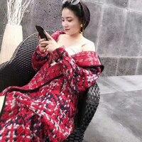 2018 Новая мода полушерстяные Тренч Для женщин осень очень длинные Шерстяное пальто элегантный плед красный зеленый Костюмы леди Hoode шерсть в