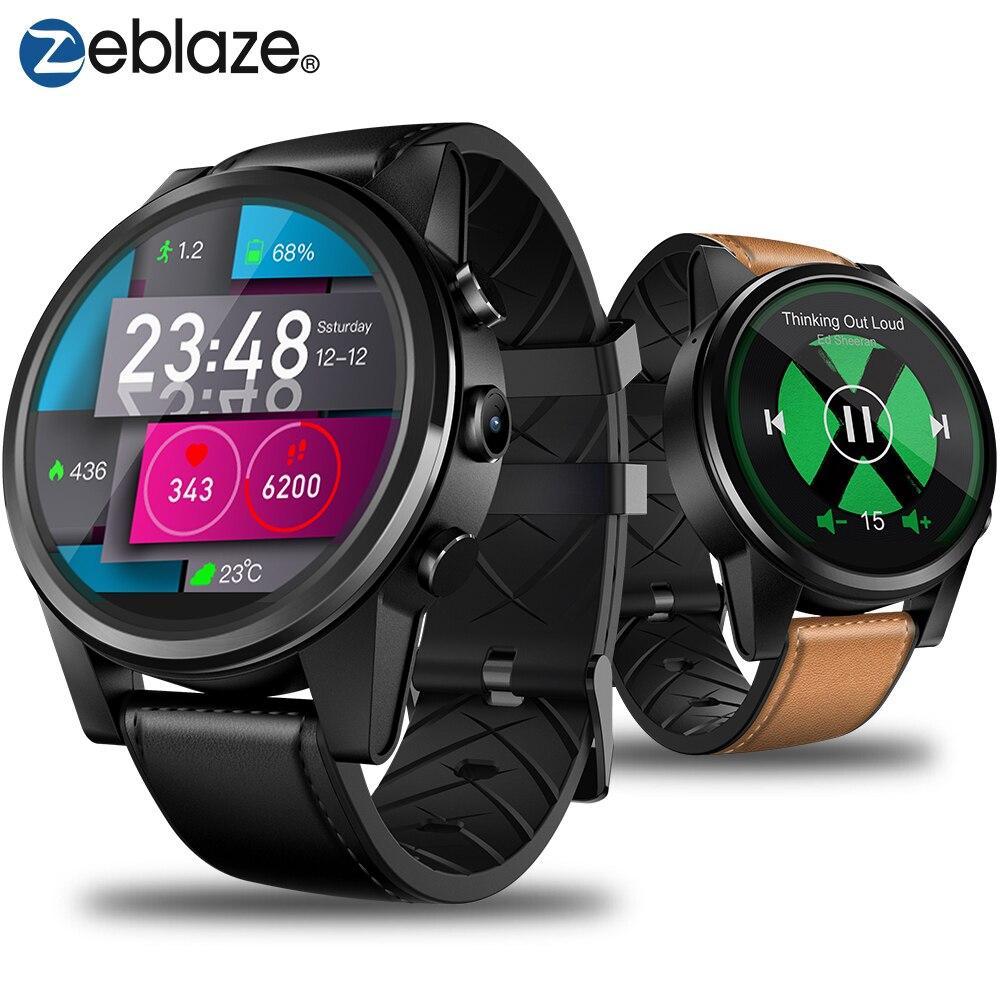 Zeblaze THOR 4 Pro 1.6 pouces affichage cristal 16GB 600mAh 4G SmartWatch GPS/GLONASS Quad Core hybride bracelet en cuir montre intelligente hommes