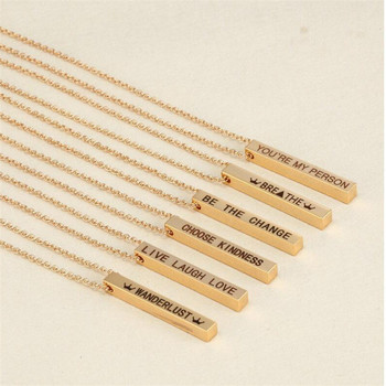 Four Sides Engraving Personalized Square Bar Custom Name Necklace Stainless Steel Pendant 3