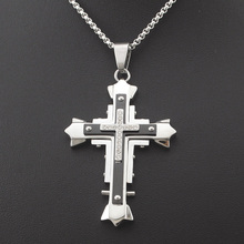 Man Crucifix Necklace 60cm Chains with Rhinestone Double Layer Cross Pendants Stainless Steel Fashion New For Men Free Shipping